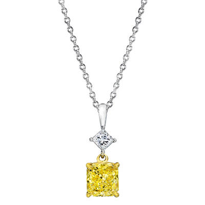 1.45 CT. T.W. Radiant-cut Fancy Yellow Diamond Pendant in Platinum (FY, VS1)