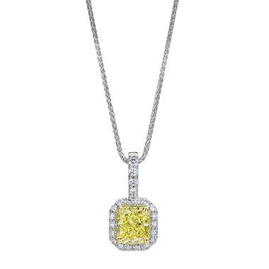 1.83 CT. T.W. Radiant-cut Fancy Light Yellow Halo Melee Diamond Pendant in Platinum (FLY, VVS2)