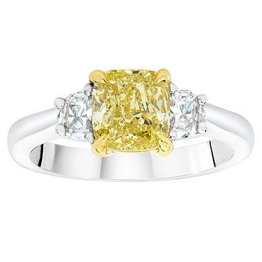 1.49 CT. T.W. Cushion-cut Fancy Light Yellow 3-Stone Diamond Ring in 18K White Gold (FLY, VS1)