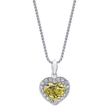 1.49 CT. T.W. Fancy Yellow Heart-shaped Halo Melee Diamond Pendant in 18K White Gold (FY, VS1)