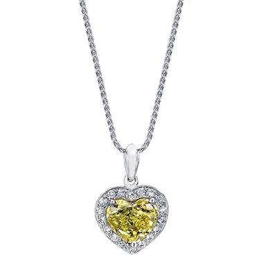 1.49 CT. T.W. Fancy Yellow Heart-shaped Halo Melee Diamond Pendant in 18K White Gold (FY, VS1)
