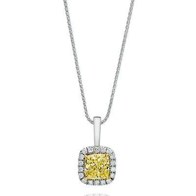 1.30 CT. T.W. Cushion-cut Fancy Yellow Halo Melee Diamond Pendant in 18K White Gold (FY, VS1)