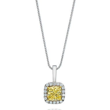 1.30 CT. T.W. Cushion-cut Fancy Yellow Halo Melee Diamond Pendant in 18K White Gold (FY, VS1)