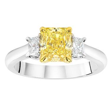 1.82 CT. T.W. Radiant-cut Fancy Yellow 3-Stone Diamond Ring in Platinum (FY, VS2)