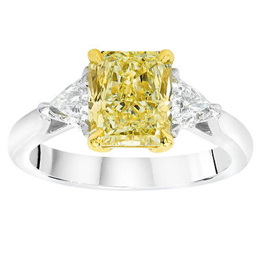 1.38 CT. T.W. Radiant-cut Fancy Yellow 3-stone Diamond Ring in 18K White Gold (FY, VS2)