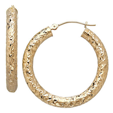 3.8 x 30mm Crystal Cut Tube Hoop Earrings in 14 Karat Yellow Gold