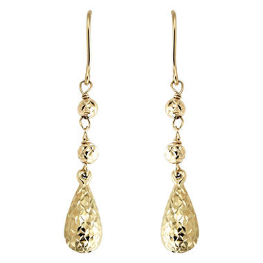 Diamond Cut Dangle Earring set in 14K Yellow Gold