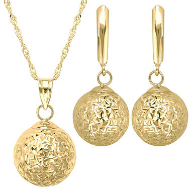 12mm Pendant and Earring Set in 14K Yellow Gold