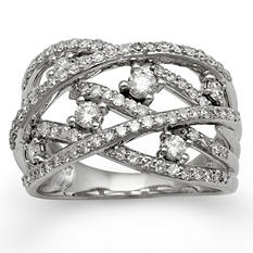 1.00 CT. T.W. Diamond Bypass Ring in 14K White Gold H-I, I1 (IGI Appraisal Value: $1,610)