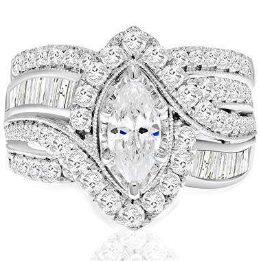 2.45 CT. T.W. Marquise Diamond Bridal Set in 14K White Gold I, I1 (IGI Appraisal Value: $3,715)