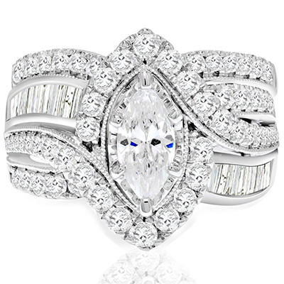 2.45 CT. T.W. Marquise Diamond Bridal Set in 14K White or Yellow Gold I, I1 (IGI Appraisal Value: $3,890)