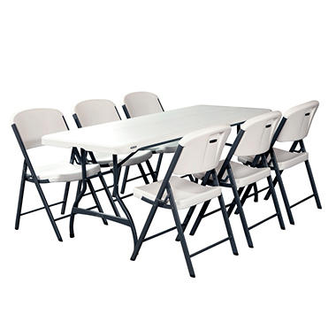 Lifetime Combo-One 6' Commercial Grade Folding Table and 6 Folding Chairs, White Granite