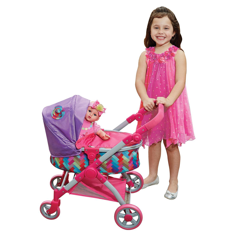 Lissi City Doll Stroller PnkLav/Ranbow/Polka Dot/Pram/Revers/Adj ...