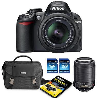 Nikon D3100 14.2MP DSLR Camera Bundle with 18-55mm VR Lens, 55-200mm VR Lens, DSLR Bag, and Two 4GB SDHC Cards