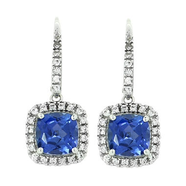 3.44 CT. T.W. Created Ceylon Sapphire & Created White Sapphire Earrings in 14K White Gold