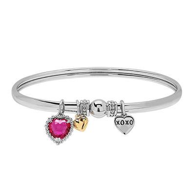 Triple Heart Charm Bracelet in Sterling Silver