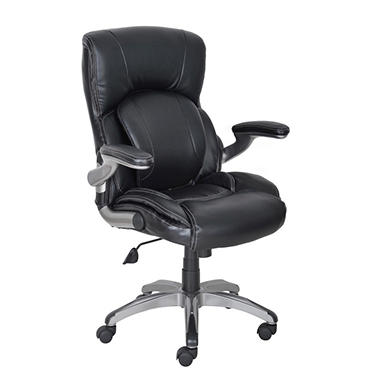 Serta My Fit Manager's Chair - Black Leather with Fabric