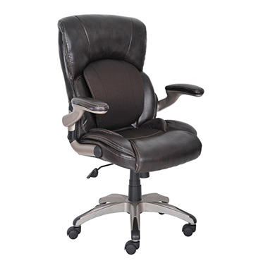 Serta My Fit Leather with Fabric Manager's Chair, Chestnut Brown