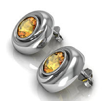 Citrine Whisper Earrings in Sterling Silver