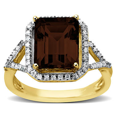 2.62 ct. Smokey Quartz Ring with 0.14 ct. t.w. Diamonds in 14k Yellow Gold