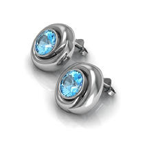 Swiss Blue Topaz Whisper Earrings in Sterling Silver