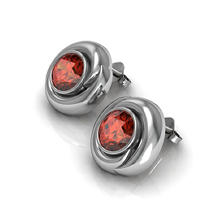 Garnet Whisper Earrings in Sterling Silver