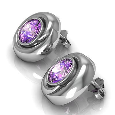 Amethyst Whisper Earrings in Sterling Silver