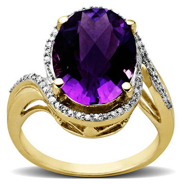 4.37 ct. Amethyst Ring with 0.15 ct. t.w. Diamonds in 14k Yellow Gold