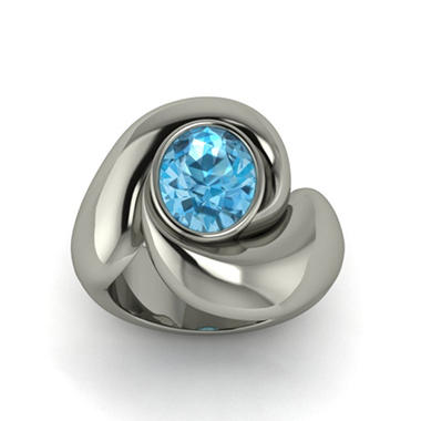 Swiss Blue Topaz Whisper Ring in Sterling Silver