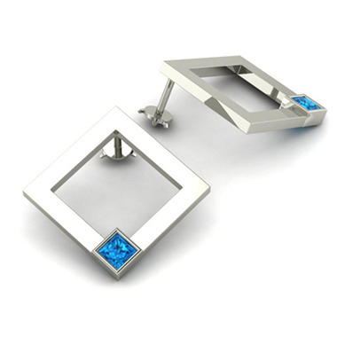 Square Swiss Blue Topaz Element Earrings in Sterling Silver