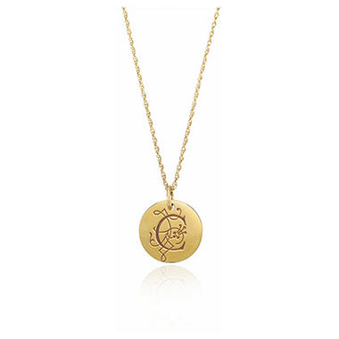 Posh Mommy? 14K Yellow Gold Personalized Large Disc Pendant