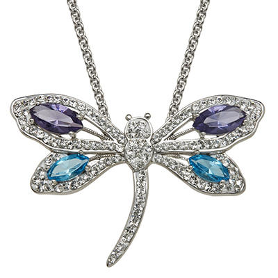 Blue, Purple and White Crystal Dragonfly Pendant in Sterling Silver