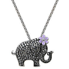 Black Crystal Elephant Pendant in Sterling Silver