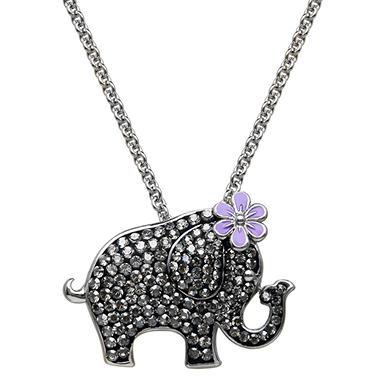 Black Crystal Elephant Pendant in Sterling Silver