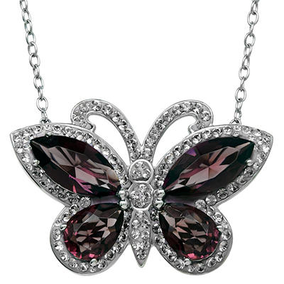 Purple and Light Purple Crystal Butterfly Pendant in Sterling Silver