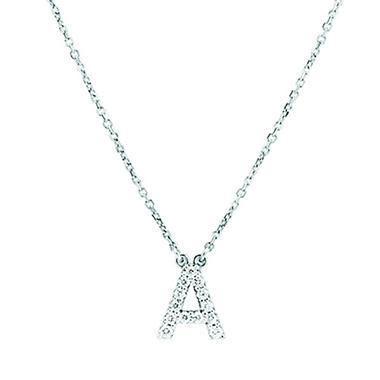 Diamond Block Initial Necklace in 14K White Gold (G-H, I1)