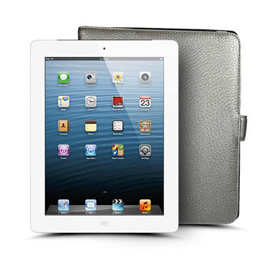 Apple iPad with Retina Display 128GB White with 4G w/ Leather Case - AT&T, Verizon, and Sprint