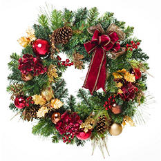 "30"" Traditional Gold & Maroon Holiday Wreath"