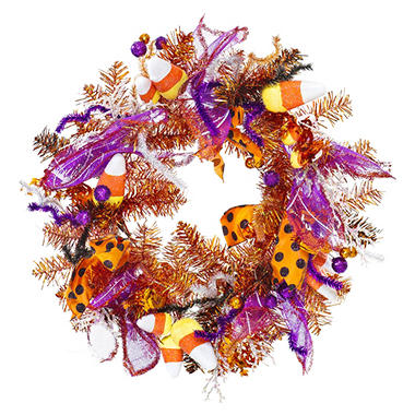 "26"" Decorative Halloween Wreath - Purple & Orange"