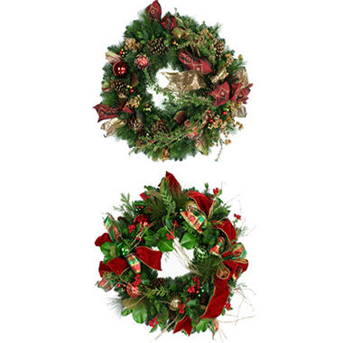 "34"" Deluxe Holiday Wreath - Plaid Ribbon"