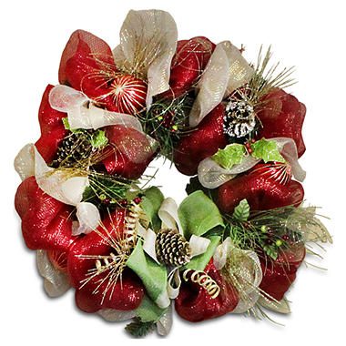 Holiday Mesh Wreath - Home Spun with Pine Cones
