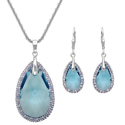Aquamarine-Colored Swarovski Crystal Teardrop Pendant and Earring Set in Sterling Silver