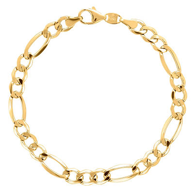 """8.5"""" Men's Figaro Bracelet in Sterling Silver and 14K Yellow Gold"""