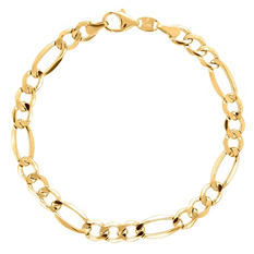 "8.5"" Men's Figaro Bracelet in Sterling Silver and 14K Yellow Gold"