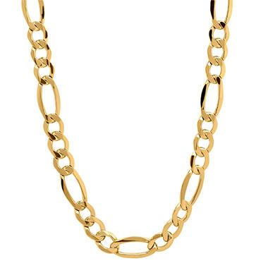 "22"" Men's Figaro Necklace in Sterling Silver and 14K Yellow Gold"