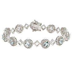 Aquamarine and Created White Sapphire Bracelet in Sterling Silver