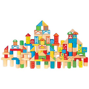 Wooden Blocks Set with Storage Tub - Shapes