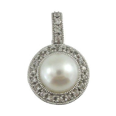 Freshwater Cultured Pearl & White Sapphire Pendant in 14K White Gold