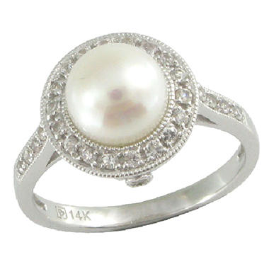 Freshwater Cultured Pearl & White Sapphire Ring in 14K White Gold