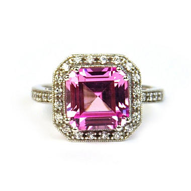 Lab-Created Pink & White Sapphire Ring in 14K White Gold